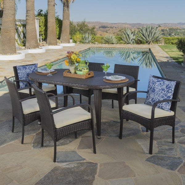 Carter Outdoor 7-piece Oval Wicker Dining Set with Cushions by Christopher Knight Home