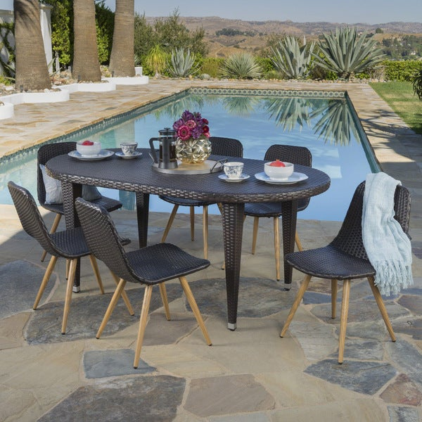 Lydia Outdoor 7-piece Oval Wicker Wood Dining Set by Christopher Knight Home