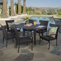 Sophia Outdoor 7-piece Oval Wicker Dining Set by Christopher Knight Home