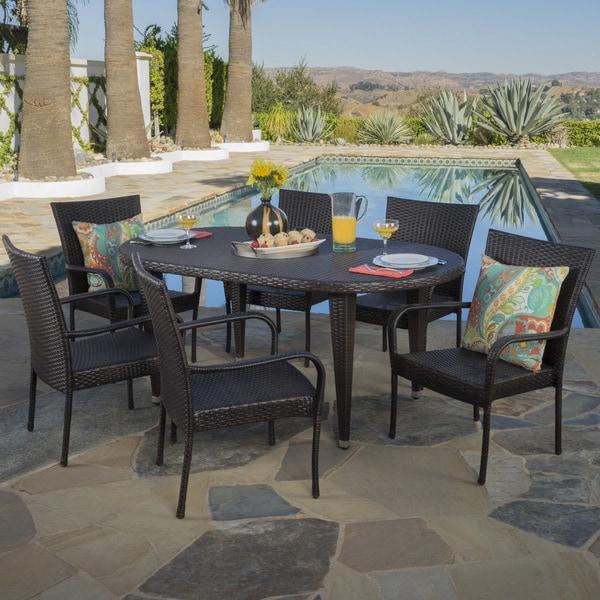Shop Sophia Outdoor 7 Piece Oval Wicker Dining Set By