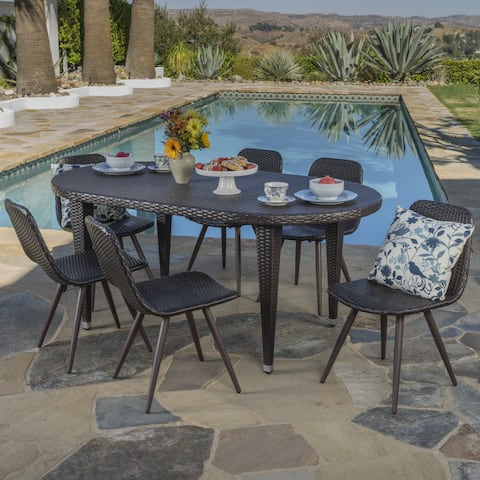 Lifou Outdoor 7-piece Oval Wicker Dining Set by Christopher Knight Home