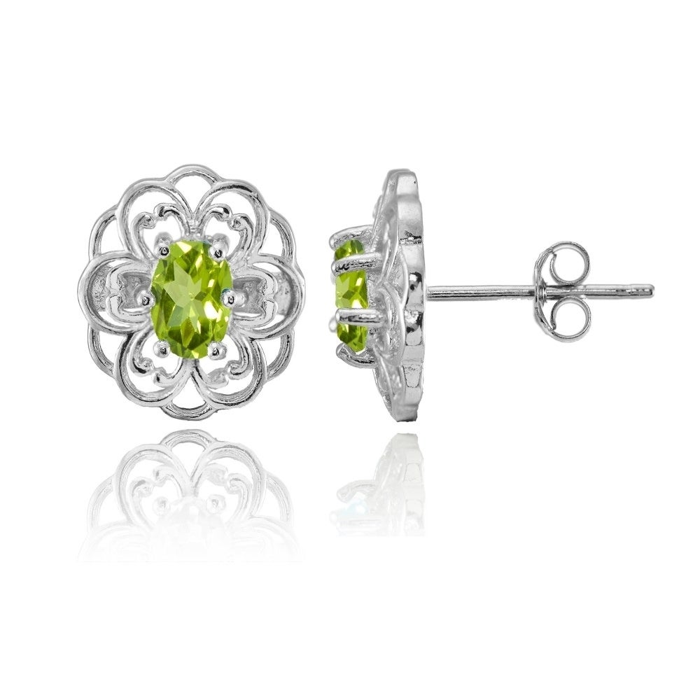 1.80 Ct Round Peridot 925 Silver 4-prong Stud Earrings 6mm