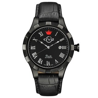 GV2 Men's Automatic Black Leather Strap Watch