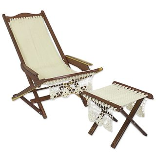 Wood And Nylon Chair And Foot Rest, 'Ivory Charm' (Mexico)