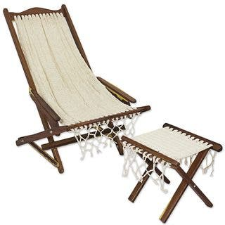 Wood And Cotton Chair And Foot Rest, 'Ivory Weave' (Mexico)|https://ak1.ostkcdn.com/images/products/18679370/P24772036.jpg?impolicy=medium