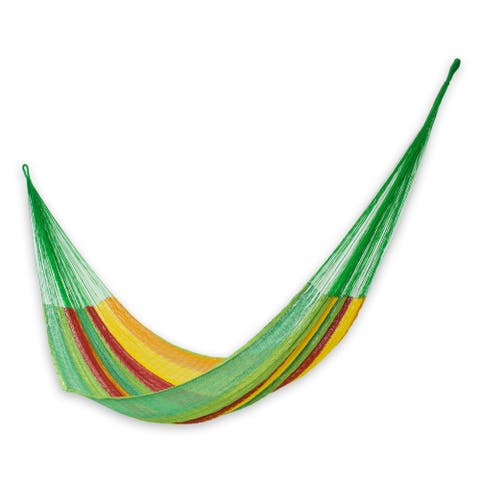 Cotton Hammock Green, Red & Yellow - Double (Mexico)