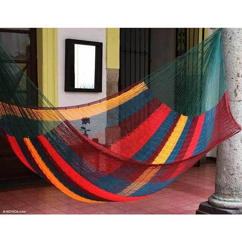 Cotton Hammock, 'Red Wine Sunset' - Double (Mexico)