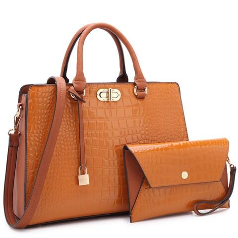 Dasein Croco Faux Leather Twist Lock Dangling Padlock Satchel Handbag with Matching Wristlet