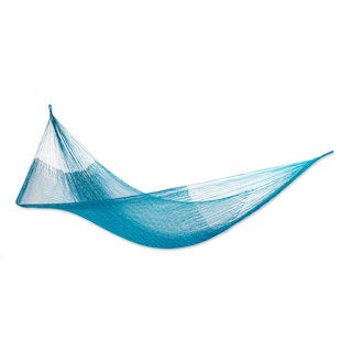 Nylon Rope Hammock, 'Teal Haven' - Single (Mexico)