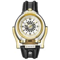 GV2 Men's Automatic Black Leather Strap Watch - Gold