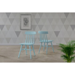 Handy Living Brookside Sky Blue Wood Armless Dining Chairs (Set of 2)