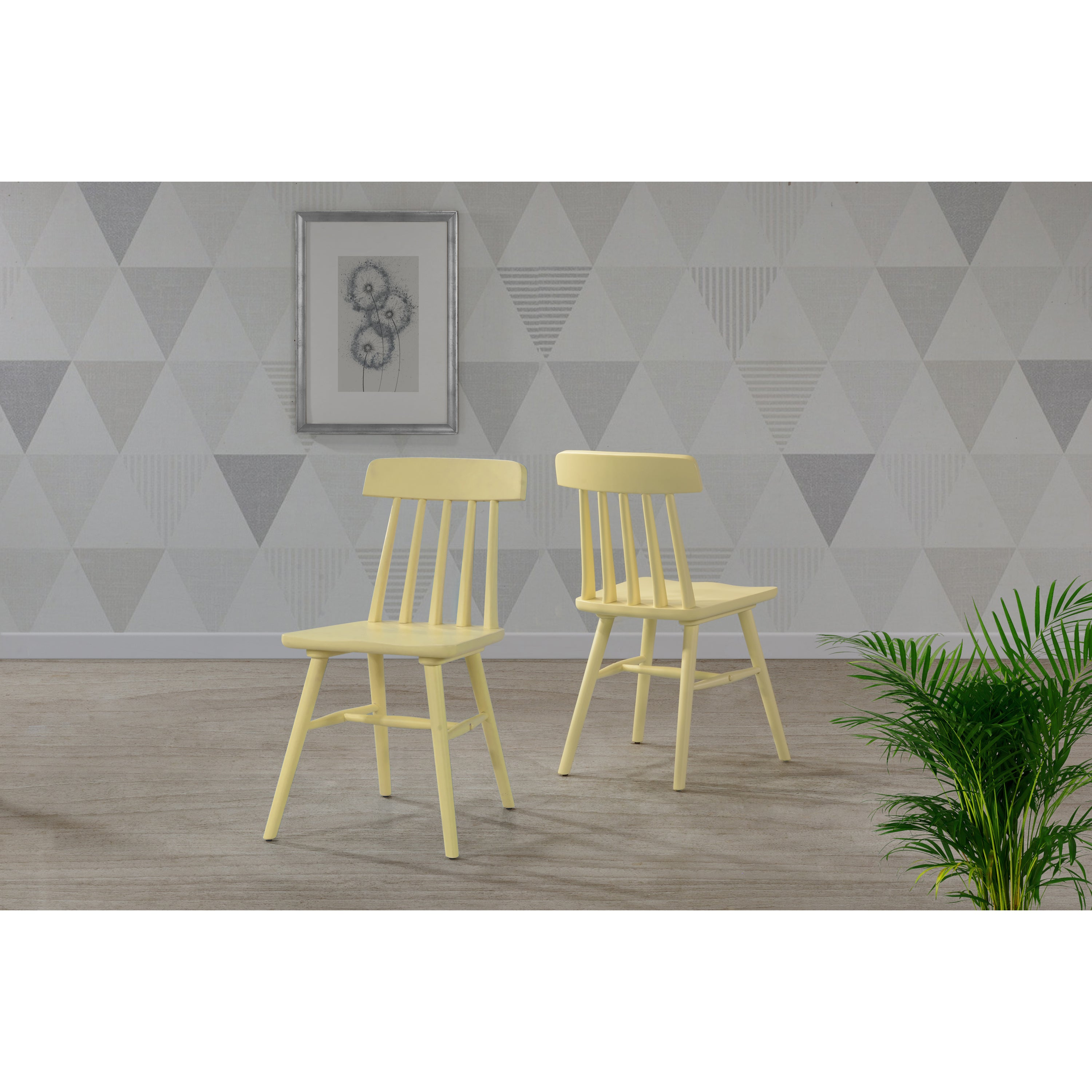 handy living brookside yellow wood armless dining chairs set of 2