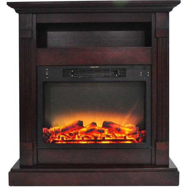 Cambridge Sienna 34-inch Electric Fireplace with Enhanced Log Display and Mahogany Mantel