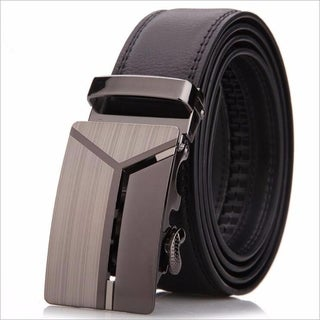 Men's Leather Ratchet Dress Belt with Automatic Buckle Adjustable Track Belt (up to 46 in.)