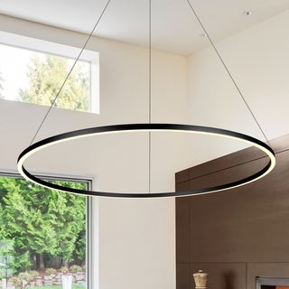 Vonn Lighting VMC34912BL Tania Black Aluminum/Acrylic 51-inch LED Adjustable Suspension Modern Single-tier Circular Chandelier