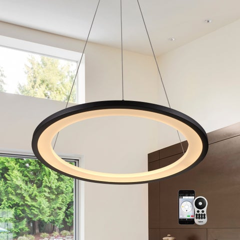 VONN Lighting VHC39600BL Tania 24-inch WiFi-Enabled Tunable-White LED Chandelier, VISION Series