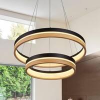"""VONN Lighting VSRC3624BL Silva 24"""" LED Chandelier in Plated Black Wood"""