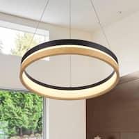 VONN Lighting VSRC3520BL Silva 20-inch Integrated LED Chandelier in Plated Black Wood Finish