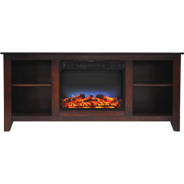 Cambridge Santa Monica 63 In. Electric Fireplace & Entertainment Stand in Mahogany w/ Multi-Color LED Insert