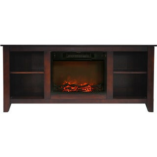 Cambridge Santa Monica 63 In. Electric Fireplace & Entertainment Stand in Mahogany w/ 1500W Charred Log Insert