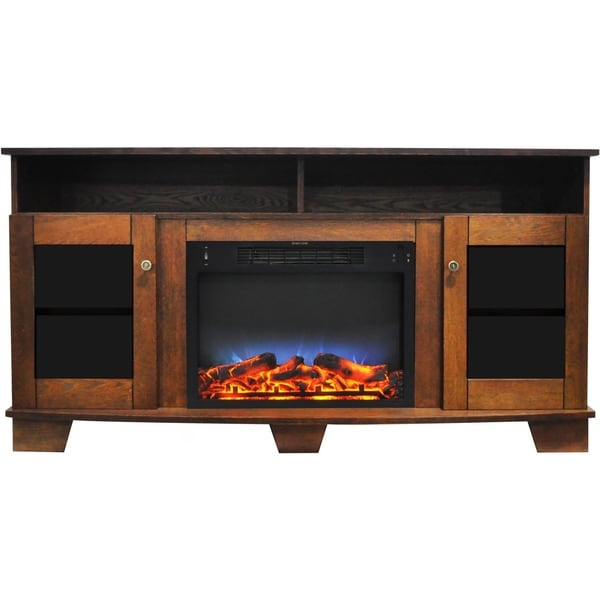 Cambridge Savona 59 In. Electric Fireplace in Walnut with Entertainment Stand and Multi-Color LED Flame Display