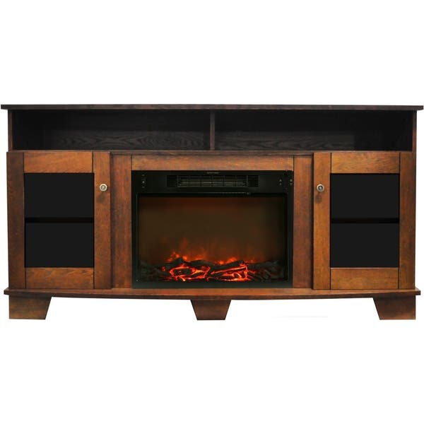 Shop Cambridge Savona 59 In Electric Fireplace In Walnut With