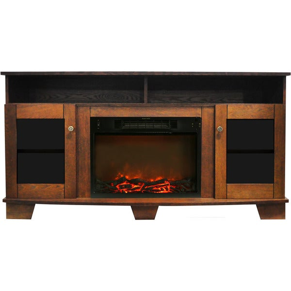 Cambridge Savona 59 In. Electric Fireplace in Walnut with Entertainment Stand and Charred Log Display