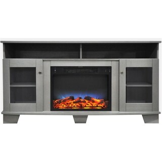 Cambridge Savona 59 In. Electric Fireplace in Gray with Entertainment Stand and Multi-Color LED Flame Display