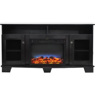 Cambridge Savona 59 In. Electric Fireplace in Black Coffee with Entertainment Stand and Multi-Color LED Flame Display