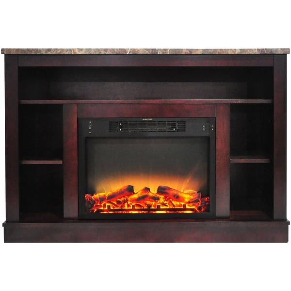 Cambridge 47 In. Electric Fireplace with Enhanced Log Insert and Mahogany Mantel