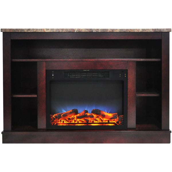 Cambridge Brown 47-inch Electric Fireplace With Multicolor LED Insert and Mahogany Mantel
