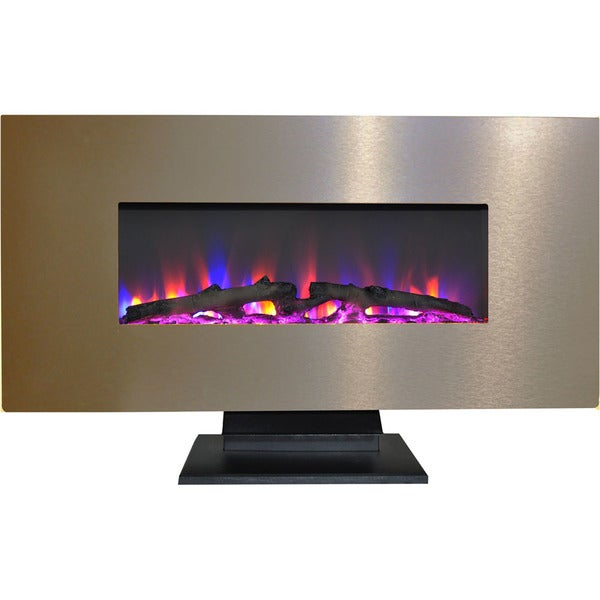 Cambridge 42 In. Metallic Electric Fireplace in Bronze with Multi-Color Log Display