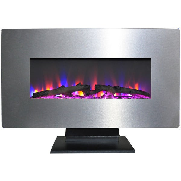 Cambridge 36 In Metallic Electric Fireplace Stainless Steel With Multi Color Log Display
