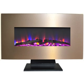 Cambridge 36 In. Metallic Electric Fireplace in Bronze with Multi-Color Log Display