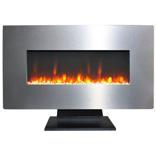 Cambridge 36 In. Metallic Electric Fireplace in Stainless Steel with Multi-Color Crystal Rock Display
