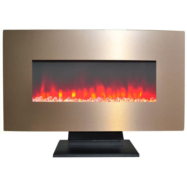 Cambridge 36 In. Metallic Electric Fireplace in Bronze with Multi-Color Crystal Rock Display