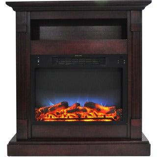 Cambridge Sienna 34 In. Electric Fireplace w/ Multi-Color LED Insert and Mahogany Mantel