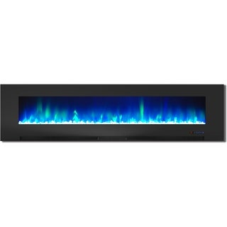 Cambridge CAM78WMEF-1BLK Black 78-inch Wall-Mount Electric Fireplace with Multicolored Flames and Crystal Rock Display