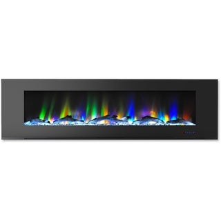 Cambridge CAM72WMEF-2BLK Black 72-inch Wall-mount Electric Fireplace with Multicolored Flames and Driftwood Log Display
