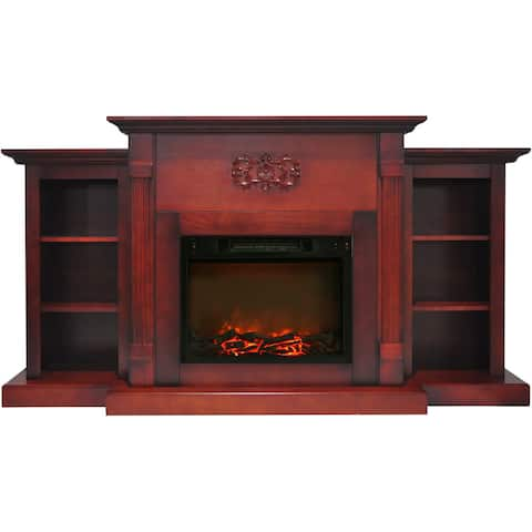 Cambridge CAM7233-1CHR Sanoma 72 In. Electric Fireplace in Cherry with Built-in Bookshelves and 1500W Charred Log Insert