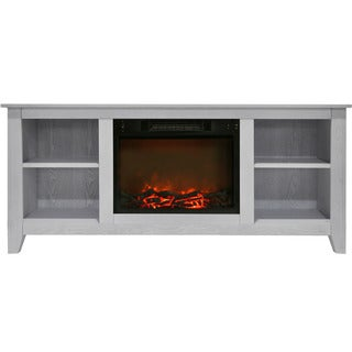 Cambridge CAM6226-1WHT Santa Monica 63 In. Electric Fireplace & Entertainment Stand in White w/ 1500W Charred Log Insert