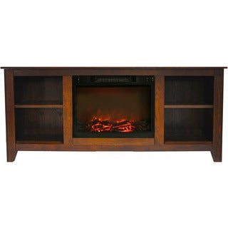 Cambridge CAM6226-1WAL Santa Monica 63 In. Electric Fireplace & Entertainment Stand in Walnut w/ 1500W Charred Log Insert
