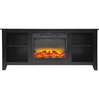 Cambridge CAM6226-1COFLG2 Santa Monica 63 In. Electric Fireplace & Entertainment Stand in Black Coffee with Enhanced Log Display