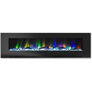 Cambridge CAM60WMEF-2BLK Black 60-inch Wall-mounted Programmable Electric Fireplace with Multicolor Flames