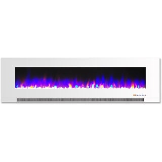 Cambridge CAM60WMEF-1WHT White Glass 60-inch Wall-mount Electric Fireplace With Multicolor Flames and Crystal Rock Display