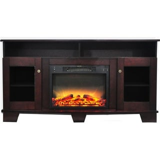 Cambridge Savona 59 In. Electric Fireplace in Mahogany with Entertainment Stand and Enhanced Log Display