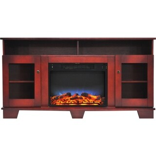 Cambridge Savona 59 In. Electric Fireplace in Cherry with Entertainment Stand and Multi-Color LED Flame Display