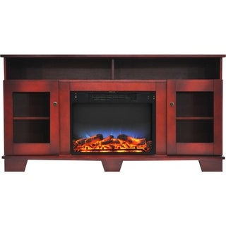 Cambridge CAM6022-1CHRLED Savona 59 In. Electric Fireplace in Cherry with Entertainment Stand and Multi-Color LED Flame Display