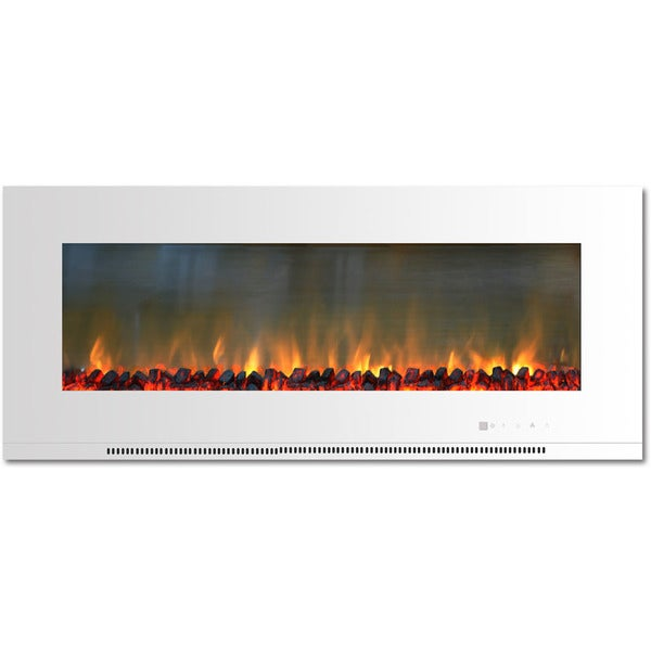 Cambridge CAM56WMEF-2WHT Metropolitan 56 In. Wall-Mount Electric Fireplace in White with Burning Log Display