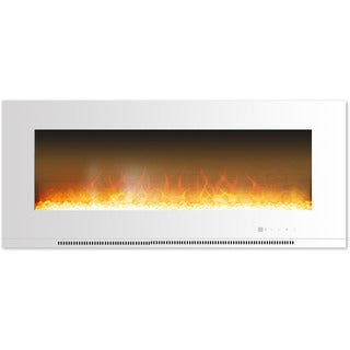 Cambridge CAM56WMEF-1WHT Metropolitan 56 In. Wall-Mount Electric Fireplace in White with Crystal Rock Display